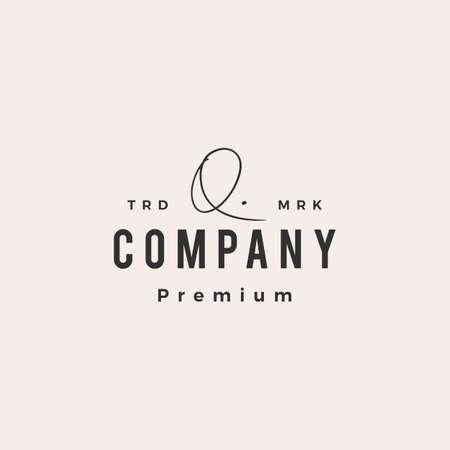 q letter mark signature hipster vintage logo vector icon illustration