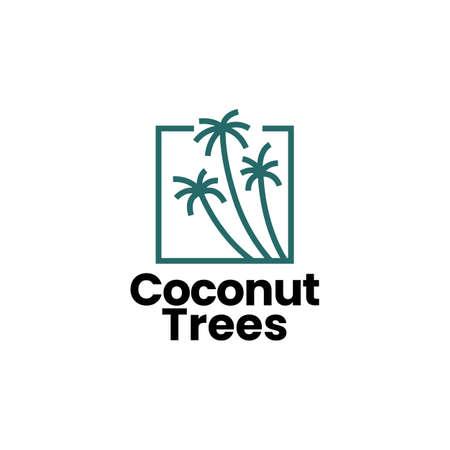 coconut tree palm logo vector icon illustration Ilustração