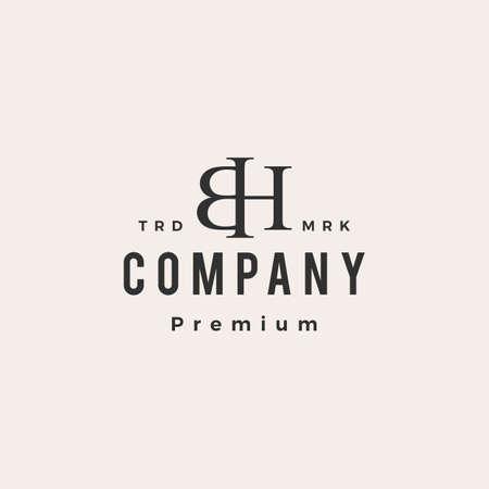 bh letter mark monogram hipster vintage logo vector icon illustration