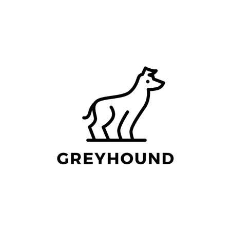 greyhound dog monoline logo vector icon illustration Ilustração