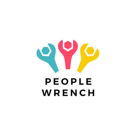 people team wrench bolt service logo vector icon illustration