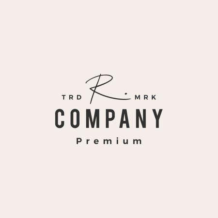 r letter mark signature hipster vintage logo vector icon illustration Ilustração