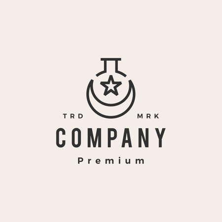 moslem lab laboratory hipster vintage logo vector icon illustration