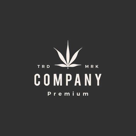 ruderalis cannabis hipster vintage logo vector icon illustration