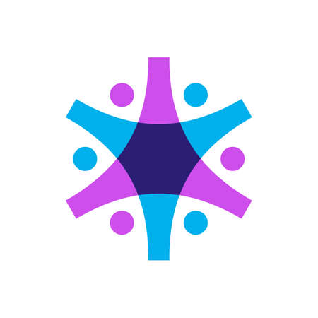 six people overlapping family team work diversity logo vector icon illustration