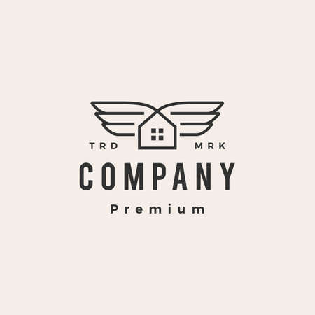 house wing hipster vintage logo vector icon illustration