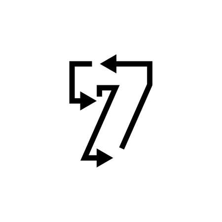 7 seven number recycle logo vector icon illustration