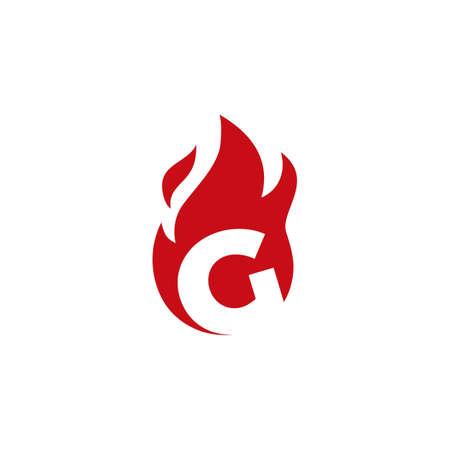 g letter fire flame logo vector icon illustration