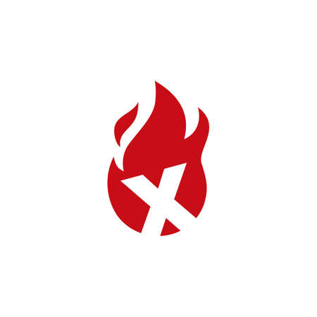 x letter fire flame logo vector icon illustration