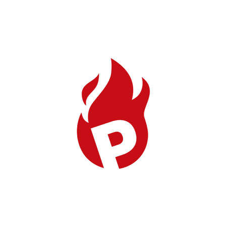 p letter fire flame logo vector icon illustration 向量圖像