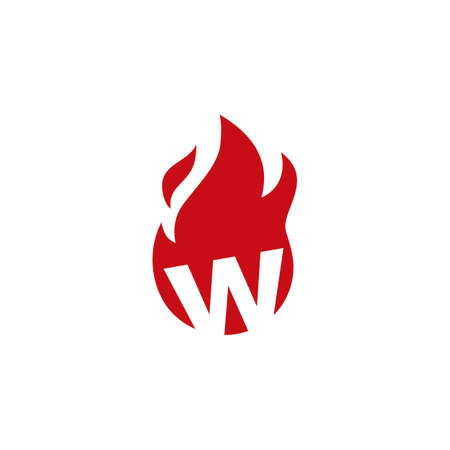 w letter fire flame logo vector icon illustration