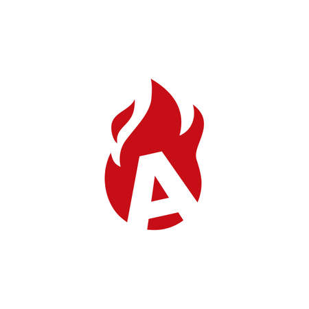 a letter fire flame logo vector icon illustration