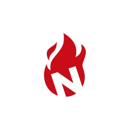 n letter fire flame logo vector icon illustration 向量圖像