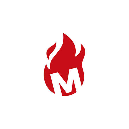 m letter fire flame logo vector icon illustration 向量圖像