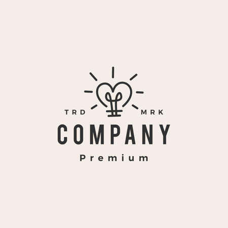 love bulb heart smart idea think hipster vintage logo vector icon illustration 向量圖像