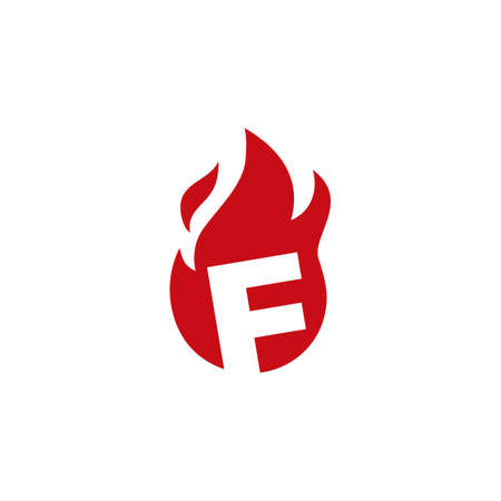 f letter fire flame logo vector icon illustration