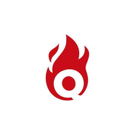 q letter fire flame logo vector icon illustration