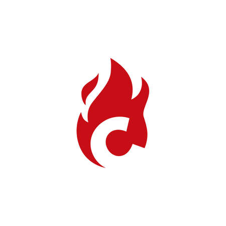 c letter fire flame logo vector icon illustration
