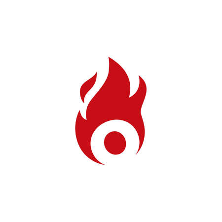 o letter fire flame logo vector icon illustration
