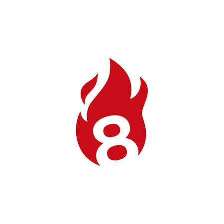 8 eight number fire flame logo vector icon illustration