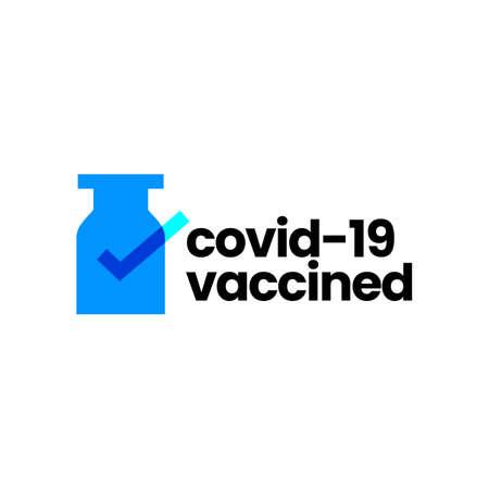 vaccine check i have got vaccinated covid 19 logo vector icon illustration
