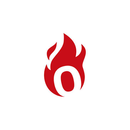 0 zero number fire flame logo vector icon illustration