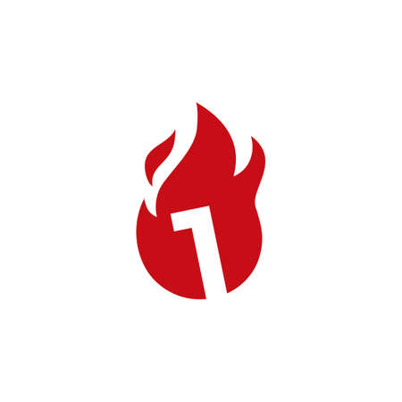 1 one number fire flame logo vector icon illustration