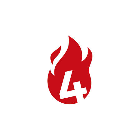 4 four number fire flame logo vector icon illustration 向量圖像