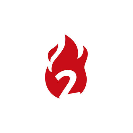 2 two number fire flame logo vector icon illustration 向量圖像