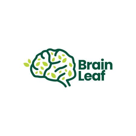 brain leaf tree natural logo vector icon illustration