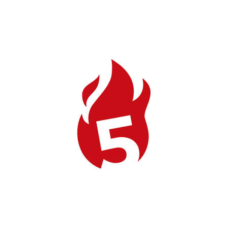 5 five number fire flame logo vector icon illustration