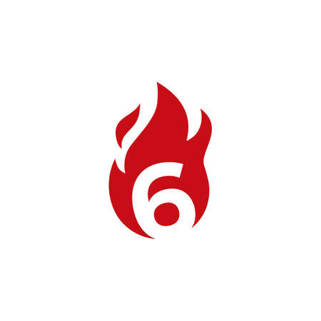 6 six number fire flame logo vector icon illustration