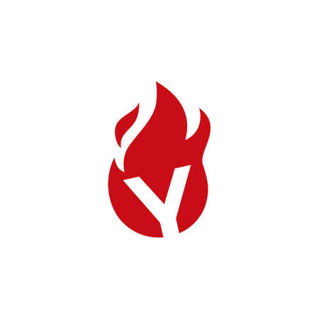 y letter fire flame logo vector icon illustration