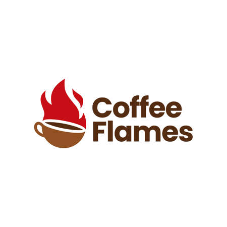fire flame hot coffee roasted roasting bean cup logo vector icon illustration 向量圖像