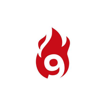 9 nine number fire flame logo vector icon illustration 向量圖像
