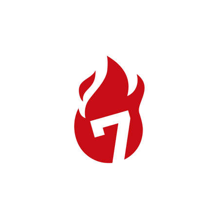 7 seven number fire flame logo vector icon illustration 向量圖像