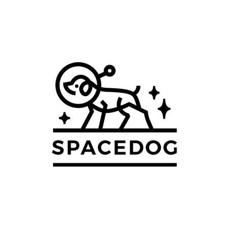 space dog astronaut monoline logo vector icon illustration