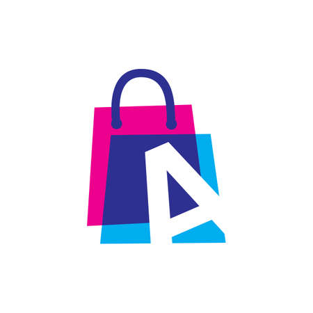 a letter shop store shopping bag overlapping color logo vector icon illustration