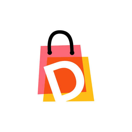 d letter shop store shopping bag overlapping color logo vector icon illustration 向量圖像