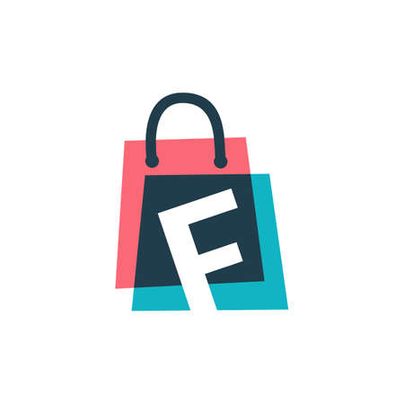 f letter shop store shopping bag overlapping color logo vector icon illustration 向量圖像
