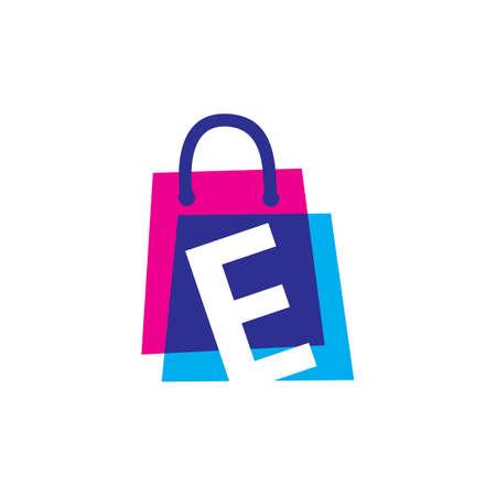 e letter shop store shopping bag overlapping color logo vector icon illustration