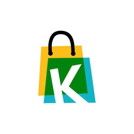 k letter shop store shopping bag overlapping color logo vector icon illustration
