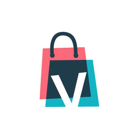 v letter shop store shopping bag overlapping color logo vector icon illustration