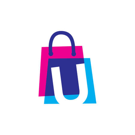 u letter shop store shopping bag overlapping color logo vector icon illustration
