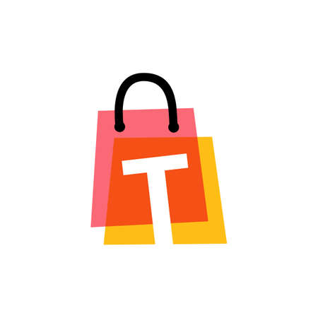 t letter shop store shopping bag overlapping color logo vector icon illustration