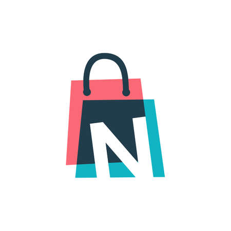 n letter shop store shopping bag overlapping color logo vector icon illustration