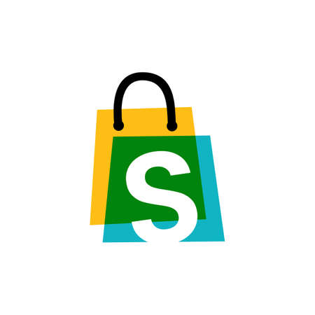 s letter shop store shopping bag overlapping color logo vector icon illustration