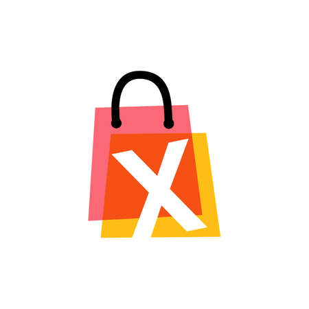 x letter shop store shopping bag overlapping color logo vector icon illustration
