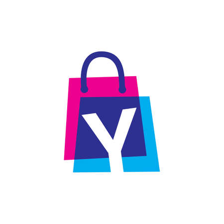 y letter shop store shopping bag overlapping color logo vector icon illustration