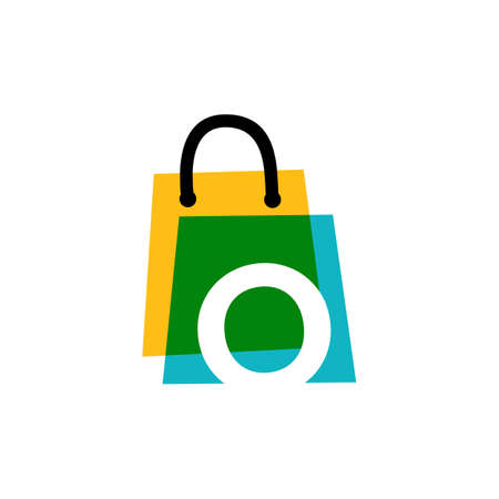 o letter shop store shopping bag overlapping color logo vector icon illustration